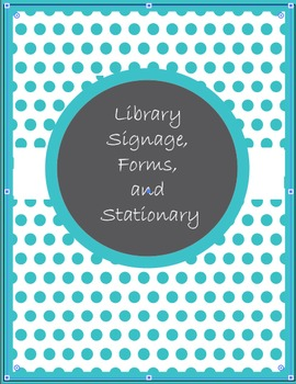 Library Signage, Forms, and Stationary in Ocean Blue Polka Dots