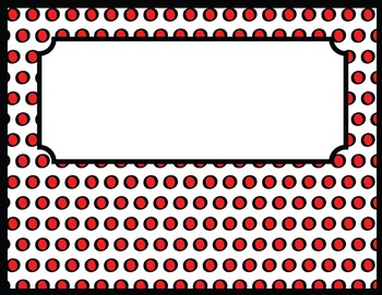 Library Signage, Forms, and Stationary in Red and Black Polka Dots