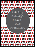 Library Signage, Forms, and Stationary in Red and Black Po