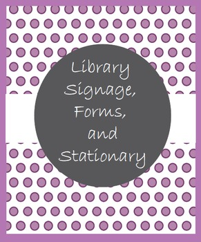 Library Signage, Forms, and Stationary in Two-Tone Purple Polka Dots
