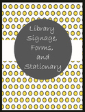 Library Signage, Forms, and Stationary in Yellow and Black Polka Dots