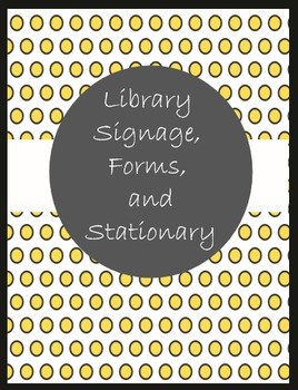 Library Signage, Forms, and Stationary in Yellow and Black