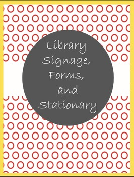 Library Signage, Forms, and Stationary in Yellow and Red Polka Dots