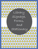Library Signage, Forms, and Stationary in Yellow and Royal Blue Polka Dots