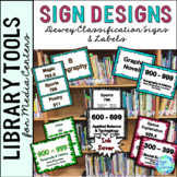 Library Skills: Dewey Decimal Signage for Media Center: 5 Different Designs