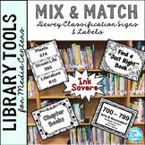 Library Skills: Dewey Decimal Signage for Media Center: Mix & Match Black/Gray