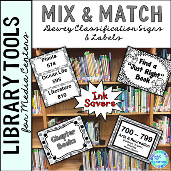 Dewey Decimal Posters for Library Media Center Ink Saver