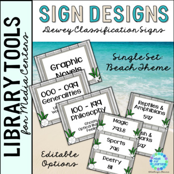 Library Skills: Dewey Decimal Theme Signage for Media Center: Single Set Beach