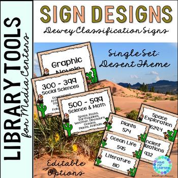 Library Skills Dewey Decimal Theme Signage for Media Center Single Set Desert