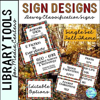 Library Skills: Dewey Decimal Theme Signage for Media Center: Single Set Fall