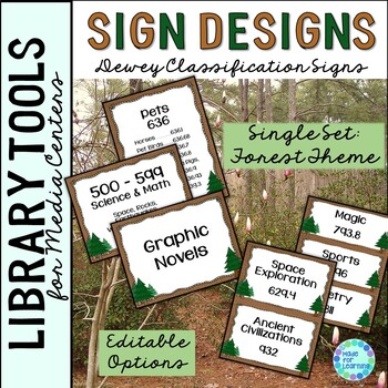 Dewey Decimal Posters for Library Media Center Forest Theme