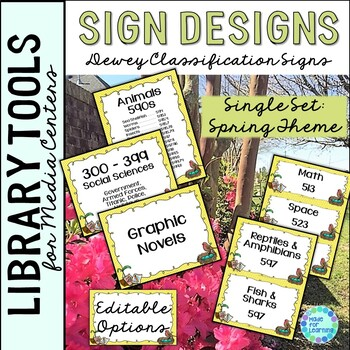Library Skills: Dewey Decimal Theme Signage for Media Center: Single Set Spring