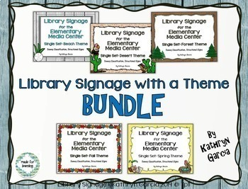 Dewey Decimal Signs for Library Media Center Theme BUNDLE