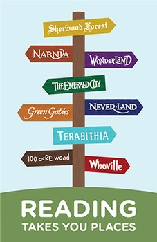 Book Signpost Poster, Reading Takes You Places, Elementary Version
