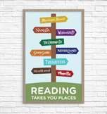 Book Signpost Poster, Reading Takes You Places, Elementary