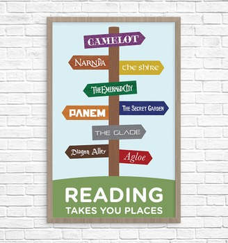 Book Signpost Poster, Reading Takes You Places, Young Adult Version