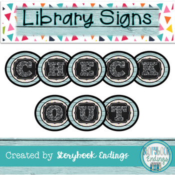 Library Signs: Blue Confetti Circulation Signs