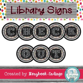 Library Signs: Gray Confetti Circulation Signs