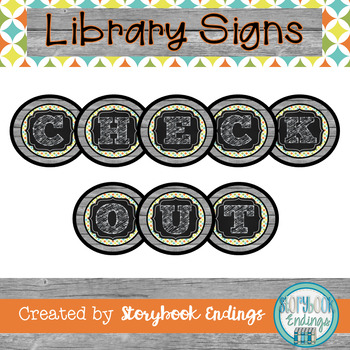 Library Signs: Turquoise, Orange, Yellow, and Green Diamonds Circulation Signs