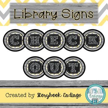 Library Signs: Yellow and Gray Circulation Signs