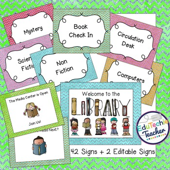 Library Signs and Posters {Glitter Chevron}