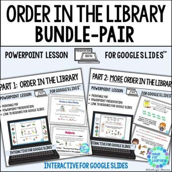 Library Skills Powerpoint Lesson BUNDLE Fiction Nonfiction Order in the Library