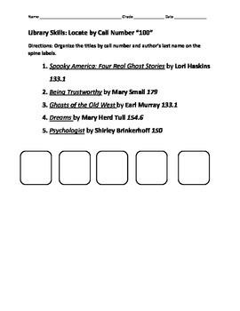 Library Skills Dewey Call Number Workbook