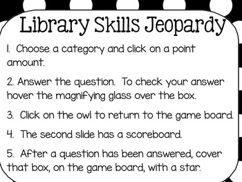 Library Skills Jeopardy Game for SmartBoard