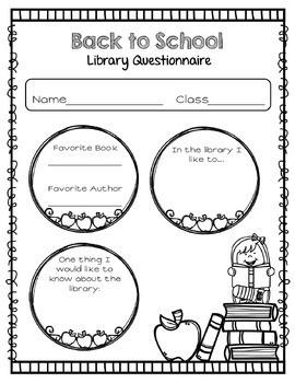 Library No Prep Printables- Back to School Activities