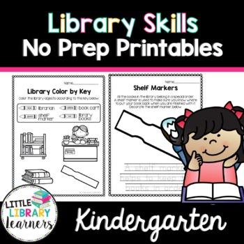 Library No Prep Printables Kindergarten