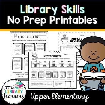 Library No Prep Printables Upper Elementary