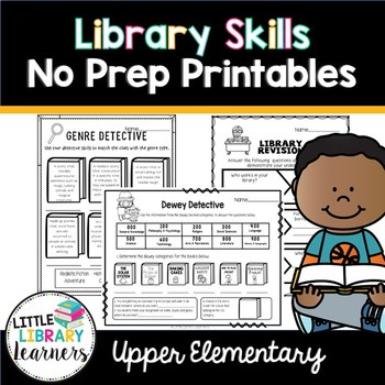 Library No Prep Printables Upper Elementary