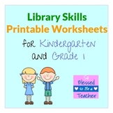 Library Skills Printable Worksheets for Kindergarten and First Grade