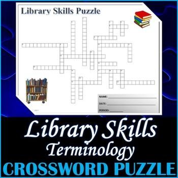 Library Skills Terminology Crossword Puzzle Activity Worksheet