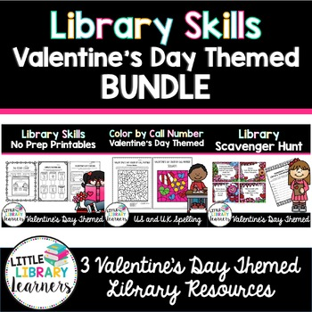 Library Skills Valentine's Day Themed BUNDLE