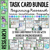 Library Research Lesson Task Card BUNDLE | Biography | Science | Social Studies