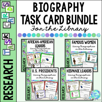 Library Research Task Cards for Biography BUNDLE