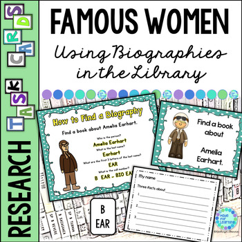 Library Skills: Task Cards for Biography Research: Famous Women in History
