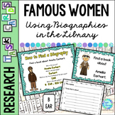 Library Skills Task Cards for Biography Research Famous Women in History