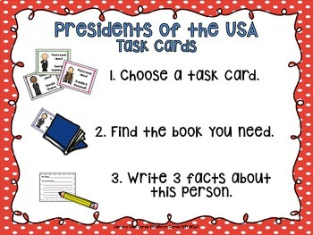 Library Skills: Task Cards for Biography Research: Presidents of the USA