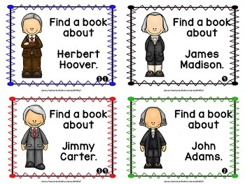 Library Research Task Cards for Biography Presidents of the USA
