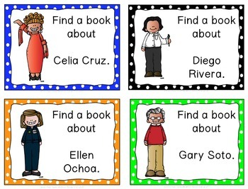 Library Skills: Task Cards for Biography Research: Famous Hispanic Leaders