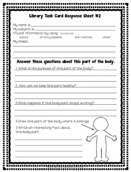 Library Research Task Cards for Science Human Body