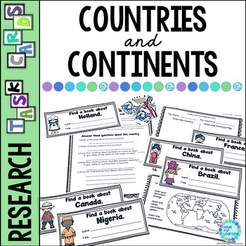 Library Task Cards for Social Studies Research: Countries/Continents of World