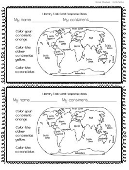 Library Research Task Cards for Social Studies Countries Continents of World