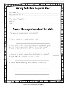 Library Skills: Task Cards for Social Studies Research: States of the USA