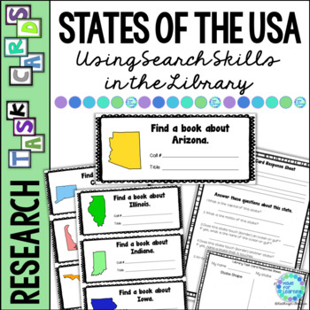 Library Task Cards: Social Studies Research: States of the USA