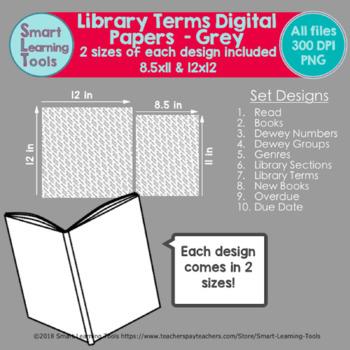 Library Words Digital Paper - Grey