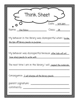 Library Think Sheet Behavior Management Tool