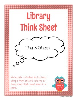 Library Think Sheet Behavior Management Tool